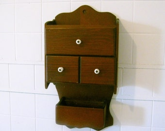 Old Antique Spice Rack Cabinet with Drawers
