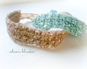 Chatoyer - Halo Headband Crown - Wide Version - You CHOOSE Color - Beads Sequins Lace - Girls Newborns Baby Infant Adults - Photo Prop
