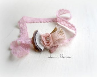 Ayla - Pearl Rosette Headband - Cream Pink Mustard Taupe - Lace Tulle - Newborn Infant Baby Girl Toddler Adult