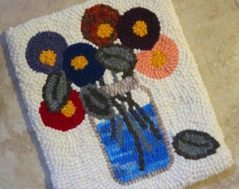Primitive Hooked Rug GLASS JAR with DAHLIAS Flowers Recycled Wool