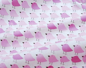 3466 - Pink Bird Cotton Fabric - 57 Inch (Width) x 1/2 Yard (Length)