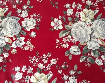 3644 - Cath Kidston Hampstead Rose (Dark Red) Oilcloth Waterproof Fabric - 28 Inch (Width) x 17 Inch (Length)