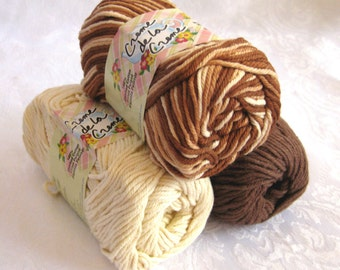 100% cotton yarn, CHOCOLATE FUDGE color story, Creme de la Creme yarn, fudge brown, cream, brown tones
