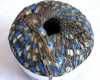 Ladder Ribbon Glitter yarn, BLUE CHOCOLATE, blue brown cream  railroad yarn, trellis yarn, 130