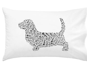 Personalized Basset Hound Pillowcase Pillow Cover Dog Breed Home Decor Bed Cushion