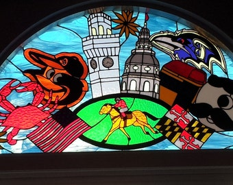 """Stained glass Transom - """"Maryland Collage"""" (TW-55)"""