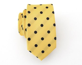 Mens Tie. Yellow and Black Dot Mens Skinny Necktie