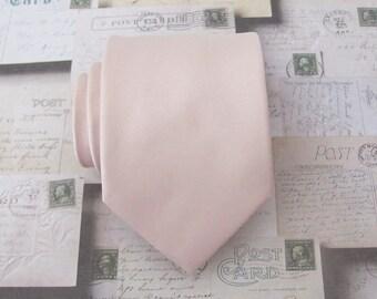 Mens Tie Nude Pink Oatmeal Blush Silk Necktie