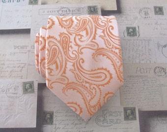 Mens Tie. Coral Peach Paisley Mens Necktie.  Wedding Ties. Groomsmens Neckties