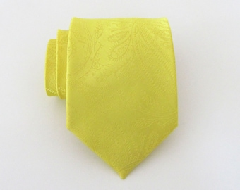 Mens Ties. Yellow Paisley Silk Tie Necktie