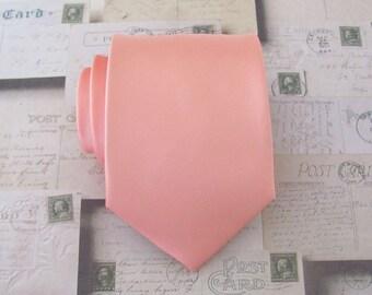 Mens Tie. Peach Tie. Coral Peach Salmon Peach Mens Necktie With Matching Pocket Square Option