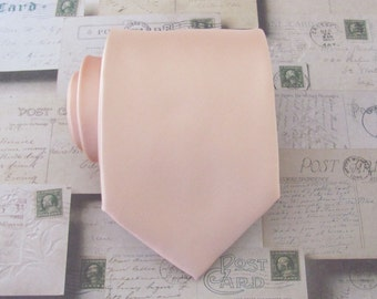 Mens Tie. Pastel Peach Pale Apricot Mens Necktie With Matching Pocket Square Option