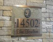 Monogram ADDRESS Plaque Slate House Numbers