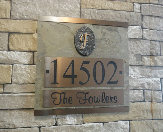 House Number Plaques Slate: Monogram ADDRESS Plaque Slate House Numbers By