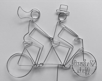 SILHOUETTE TANDEM RIDERS Personalized Wedding Cake Topper
