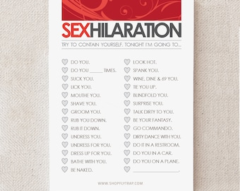 "Sexy First Anniversary Gift. Paper. Notepad. Sticky Notes. Naughty. For Man, Woman, Him, Her, Husband, Wife. ""Sexhilaration"" (NSN-L001)"