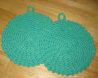 Cotton Crochet Potholders set of 2 in Light Green