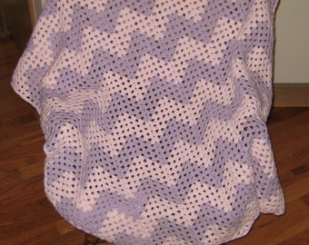 Granny Chevron Baby Afghan in Pink and Lilac