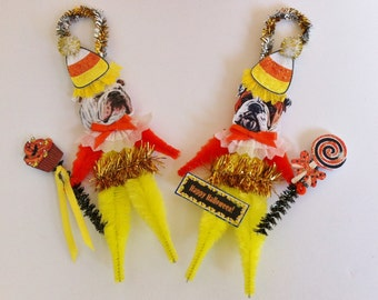 Bulldog HALLOWEEN candy corn vintage style CHENILLE ORNAMENTS set of 2
