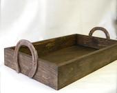 Horseshoe Handle Wood Tray- 16 x 12 x 3