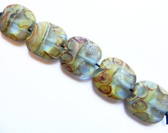 DESERT TRAILS  light aqua  5 light aqua, silver and raku tumbled large squeezed   A Beaded Gift