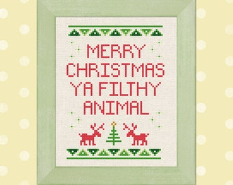 Merry Christmas Ya Filthy Animal. Quote Best Seller Modern Simple Cute Holiday Cross Stitch Pattern PDF Instant Download