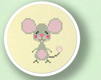 Cute Mouse. Modern Simple Cute Counted Cross Stitch PDF Pattern. Instant Download