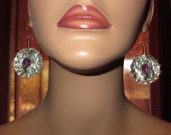Hand Forged Purple Rivet Hammered Metal Earrings Boho/Metal Chic