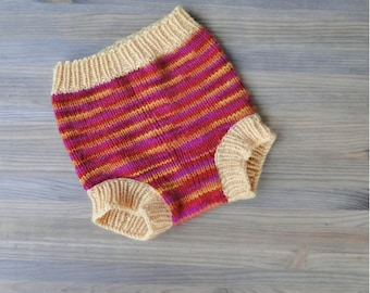 Handknitted merino wool baby cloth diaper cover\/soaker - baby wool diaper wrap ready to ship Size Small