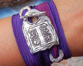 Wax Seal Jewelry Gift, Silver Wax Seal Monogram Bracelet, Wax Seal Stamp Initial Jewelry, Wax Seal Monogram Silk Wrap Bracelet Wax Seal Gift