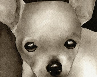 CHIHUAHUA PUPPY Sepia Art Print Signed by Watercolor Artist DJ Rogers