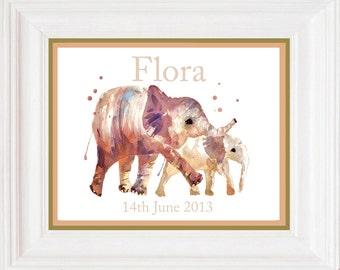 Elephant Art, Baby Announcement Print, Custom birth announcement, 8x10 print, elephant art, birth print