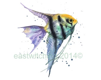 Watercolour ANGEL FISH Print, 8x10 print , tropical fish, fish art, stripes,ready to frame