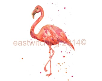 FLAMINGO Painting, 5x7 inch print, flamingo print, kids wall art, animal prints
