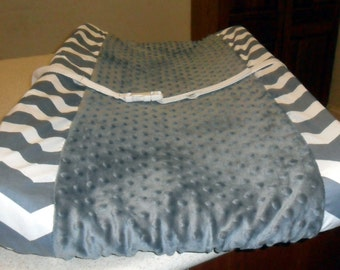 Gray Chevron and Minky Dot Changing Pad Cover CHOICE OF MINKY