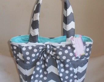 Gray Chevron with Polka Dot Bow and Aqua Interior Tote Bag Purse