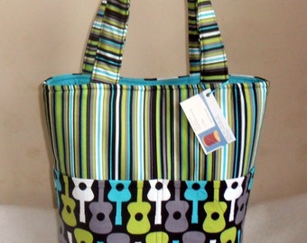 Large Michael Miller Groovy Guitar Tote Bag Purse