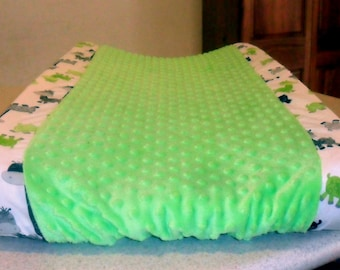 Giraffe and Lime Green Minky Dot Changing Pad Cover CHOICE OF MINKY