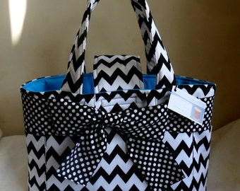 Large Black Chevron with Polka Dot Sash/Bow and Turquoise Interior Diaper Bag Tote CHOICE OF INTERIOR