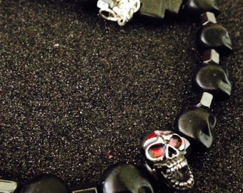 Stunning-Halloween Day of the Dead Black Gothic Skull and Hematite Bead Necklace Stainless Steel Skull Focal Bead-Unisex