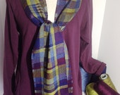 Handwoven Stained Glass Silky Scarf Wrap Tencel Eggplant Navy Blueberry Lemongrass Olive