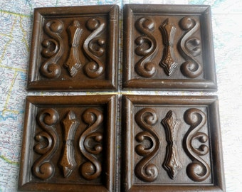 SALE! 4 ornate vintage wood look embellishment squares for decor/projects