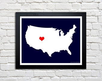 Heart Love USA United States of America Map, art print - CUSTOM COLORS - 8.5x11 print - frame and matte not included.