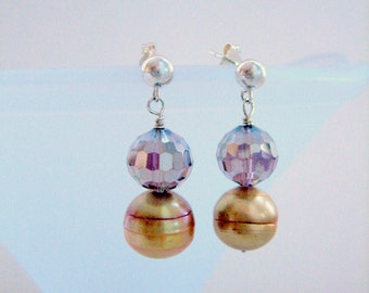 Earrings - Mother of Pearl - Swarovski Crystal - Sterling silver –Studs-Gift for her