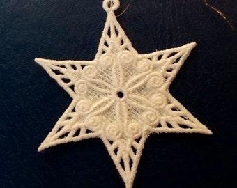 Lace Ornament Embroidered Star SunCatcher - White