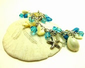 Under The Sea MOP Vintage Turtles and Shells Charm Bracelet