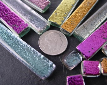 Handmade Mosaic supply. Recycled Fused dichroic glass. Rainbow Mix.