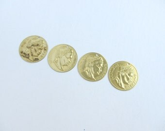 Raw Brass Napoleon Coin Charms Pendants, 4 Pcs, Made in the USA