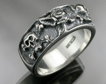 Sterling Silver Skulls and Rose Band