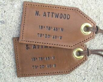 His and Hers - Nautical - Latitude/Longitude - set of 2 - Leather Luggage Tags